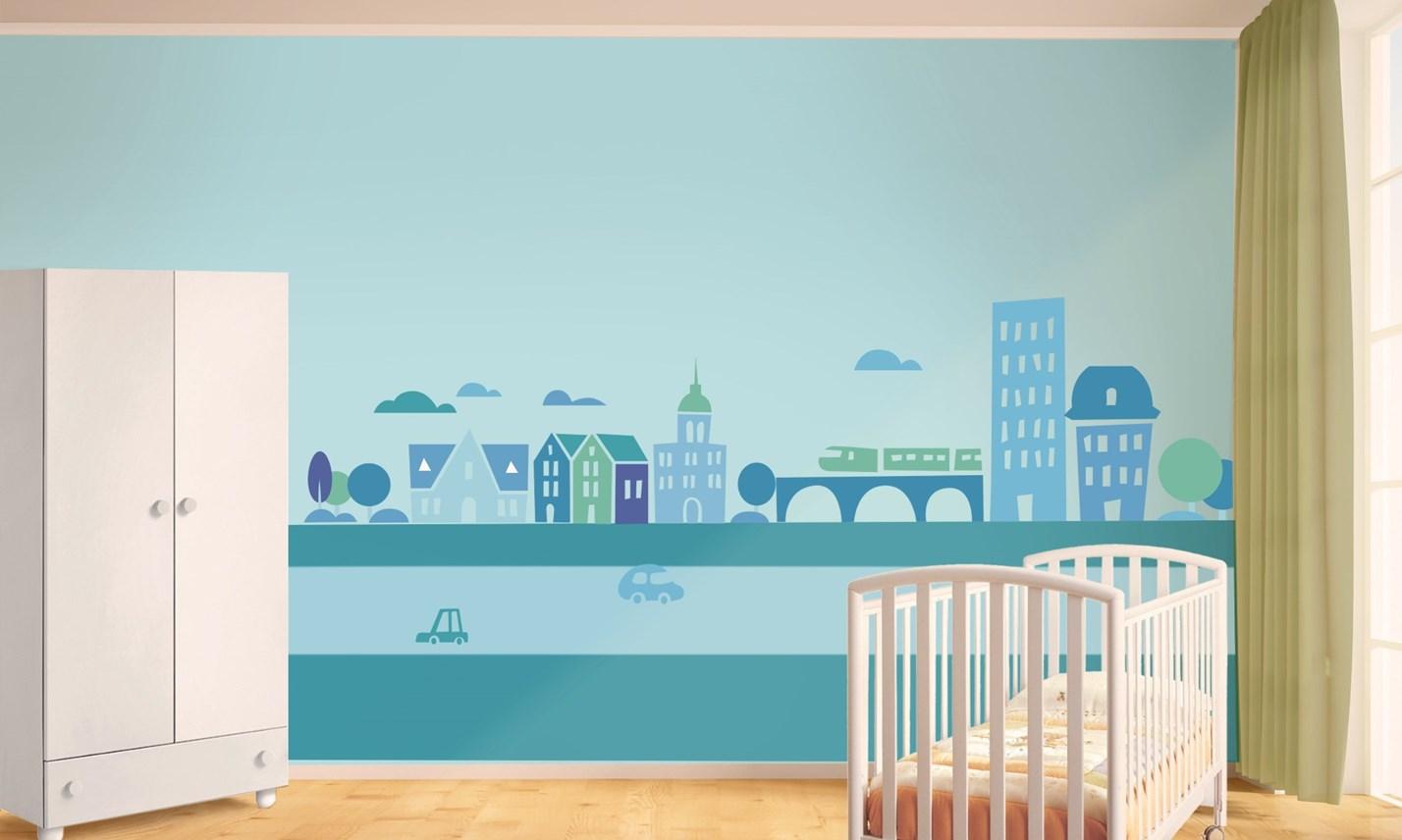 Stickers Murali Bambini - Cameretta Greca per bambini blu | LeoStickers